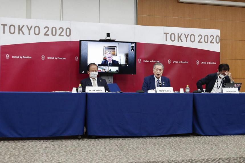 Tokyo Olympics organising committee president Yoshiro Mori (centre) speaks during a press conference in Tokyo on Sept 25, 2020.
