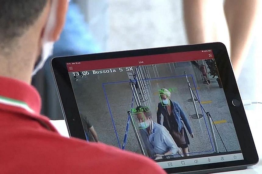 Thermal scanners at airports in cities such as Rome help flag incoming travellers with a high fever.