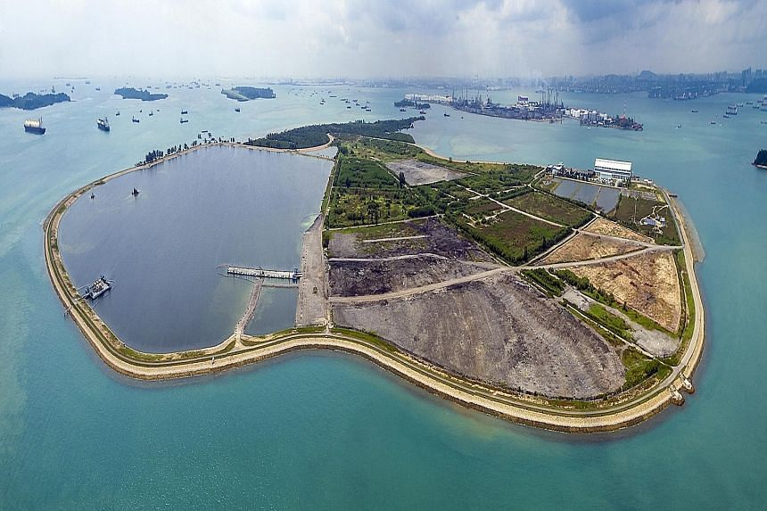 An aerial view of the Eastern bund of Semakau Landfill. NEA is seeking innovative solutions for prolonging the lifespan of the landfill and spurring Singapore's drive towards becoming a zero waste nation.