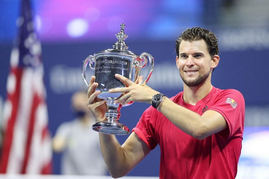 Thiem celebrates his US Open win with the trophy on Sept 13, 2020.