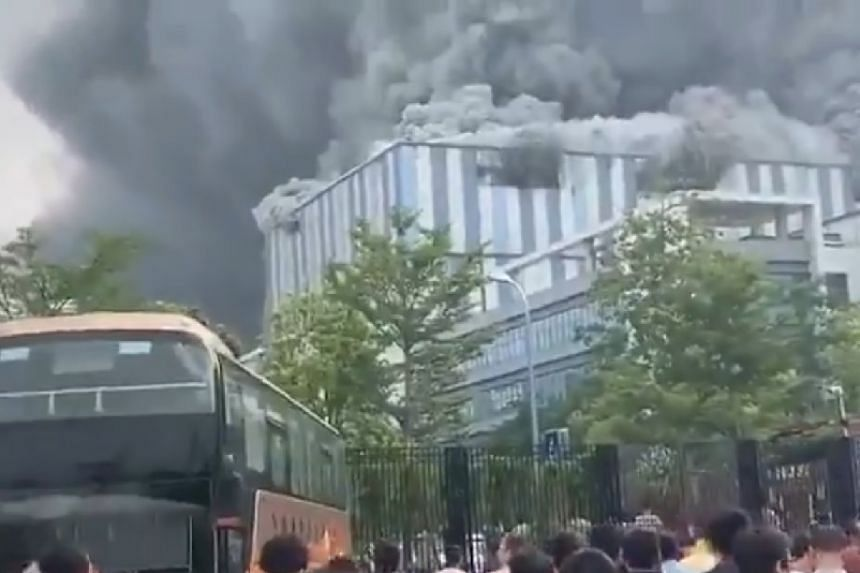 A screenshot from a video posted online of the facility on fire.