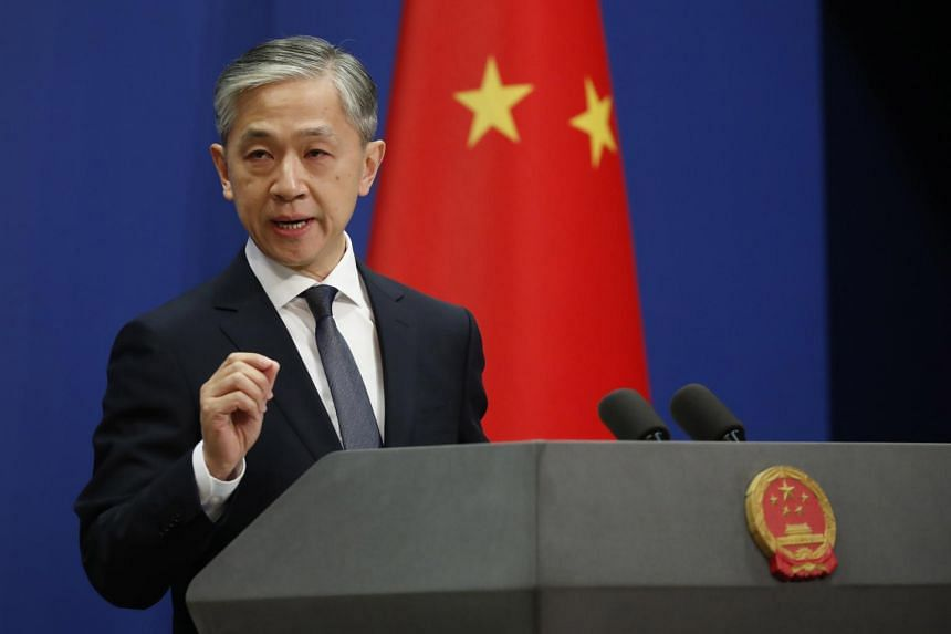 Chinese Foreign Ministry spokesman Wang Wenbin speaks during a daily media briefing at the Ministry of Foreign Affairs in Beijing on Sept 18, 2020.