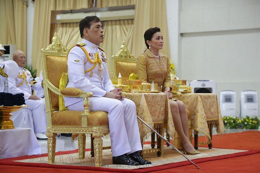 King Maha Vajiralongkorn and Queen Suthida attend an event at Siriraj Hospital in Bangkok on Sept 24, 2020.