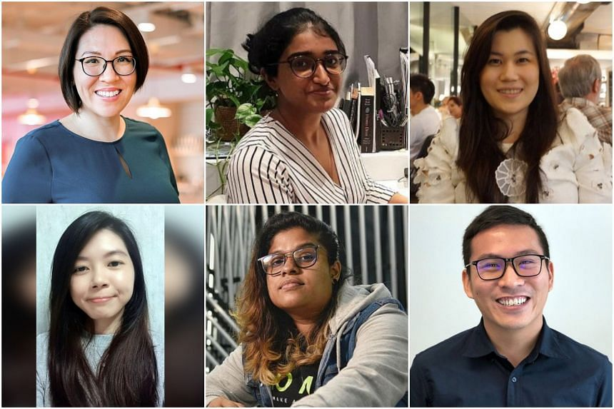 (Clockwise from top left) Ms Vanessa Manichon, Ms Malavika Menon, Ms Angel Ng, Mr Goh Wu Chong, Ms Tulasi Panneerselvam and Ms Rochelle Ong share their thoughts on working from home.
