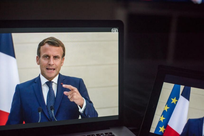 President Emmanuel Macron at the United Nations General Assembly as seen on a laptop computer in New York, Sept 22, 2020.