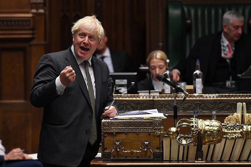 British Prime Minister Boris Johnson during a session in the House of Commons last Thursday. PHOTO: EPA-EFE
