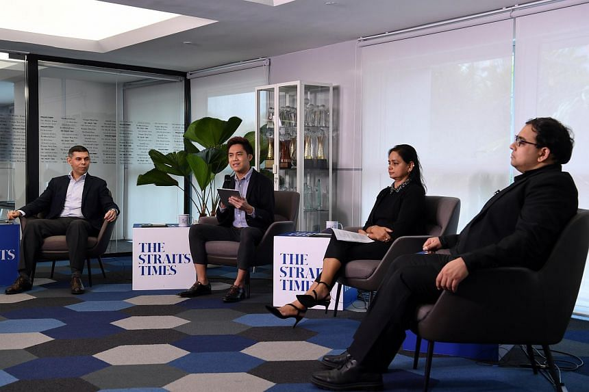 (From left) ST editor Warren Fernandez, ST correspondent Yeo Sam Jo, ST Asia News Network editor Shefali Rekhi and ST's Singapore editor Zakir Hussain speaking at a seminar during World News Day, on Sept 28, 2020.
