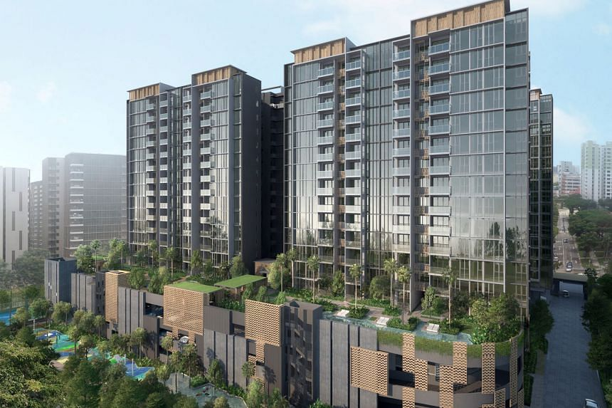 Penrose condo, a 99-year leasehold development located at Sims Drive in District 14. Take-up at the weekend was good across all unit types. The selling prices worked out to $1,500 to $1,700 per square foot, said Hong Leong. PHOTO: HONG LEONG GROUP