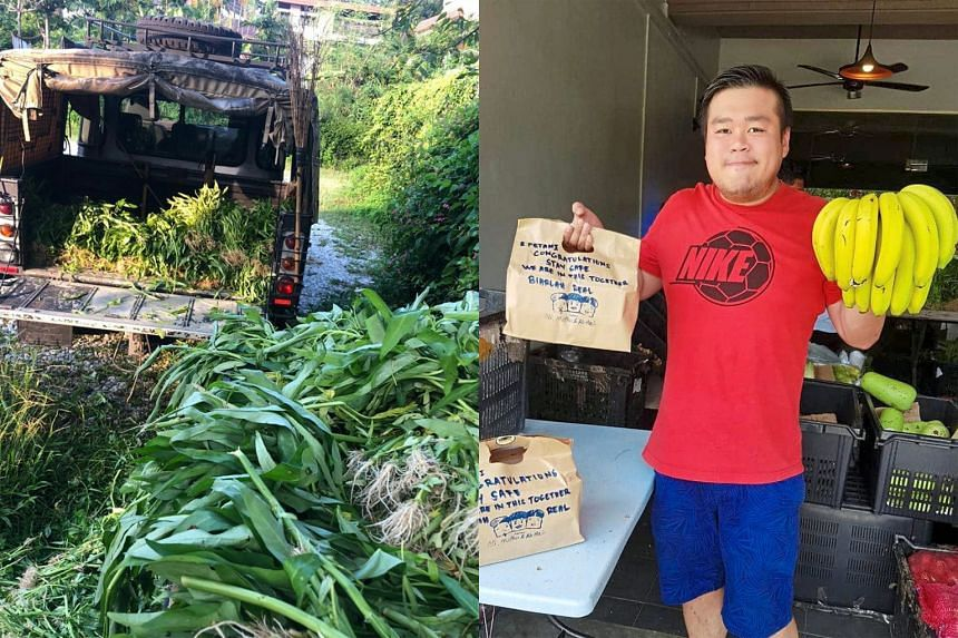 (Left) Kuala Lumpur community urban farm Kebun-Kebun Bangsar receiving a truck full of vegetables, which were given to neighbours and the needy. (Right) Entrepreneur and Durian King owner Erik Ong is utilising his expertise in digital marketing to he