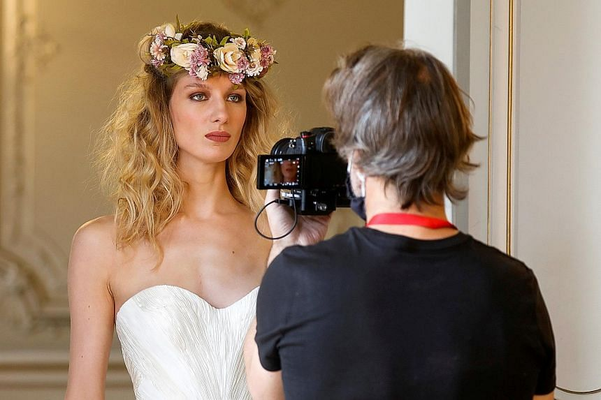 French model Tiffany Fournier posing for a digital presentation as part of the spring/summer 2021 collections for Polish fashion house La Metamorphose, in Paris.