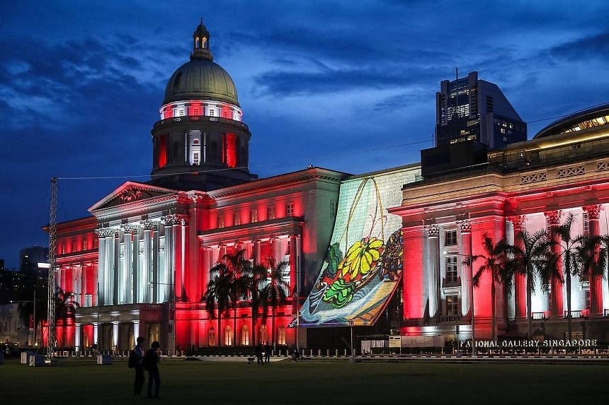 The National Gallery Singapore lit up last month as part of this year's National Day celebrations. Its visitor numbers have more than doubled compared with its first week of reopening at the end of June.