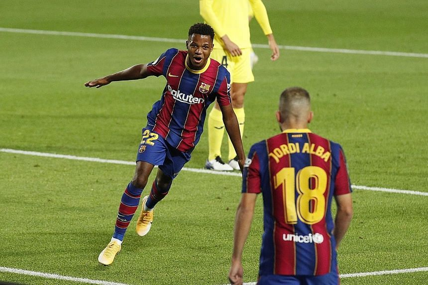Having won his first two caps for Spain last month, La Masia product Ansu Fati has been tipped for a big year at Barcelona, with his brace against Villarreal underlining his potential. PHOTO: REUTERS
