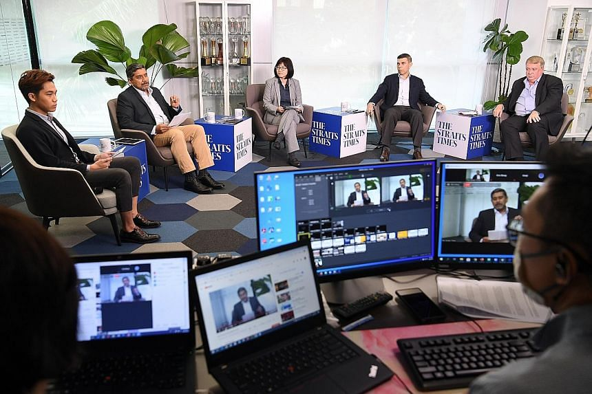 (From right) Infectious diseases expert Dale Fisher, The Straits Times editor Warren Fernandez, the Singapore University of Social Sciences' digital media programme head June Tay, moderator Viswa Sadasivan, and ST multimedia correspondent Yeo Sam Jo