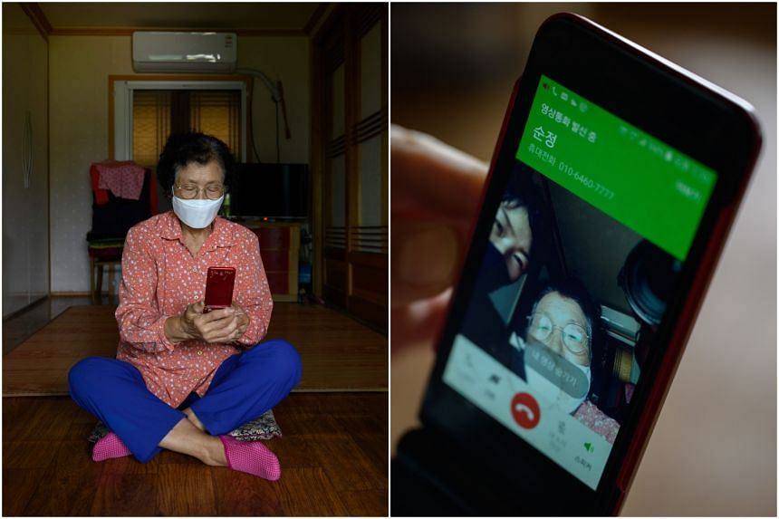 Moon Haeng-ja is one of the many elderly settling for a virtual reunion with their family members during the festival.