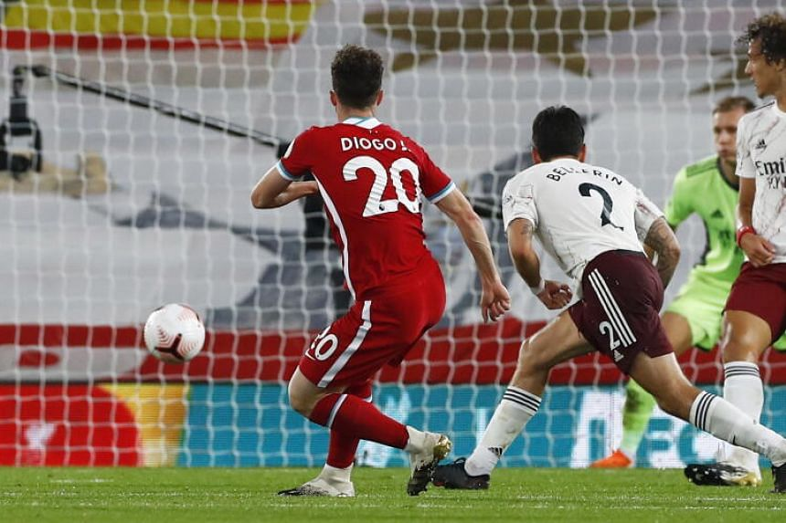 Diogo Jota of Liverpool scores during the match between Liverpool and Arsenal on Sept 28, 2020.