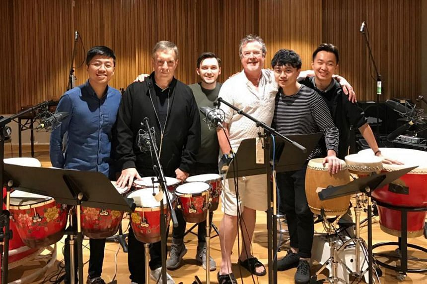 Ding Yi Music company musicians (from left) in the recording studio: Cheong Kah Yiong, Chris Craker, Alex Lamy, Richard Harvey, Derek Koh, and Low Yik Hang.