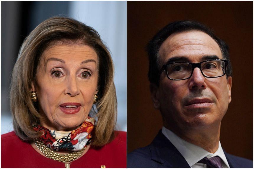 House Speaker Nancy Pelosi (left) and Treasury Secretary Steven Mnuchin talked after the Democratic plan was released.