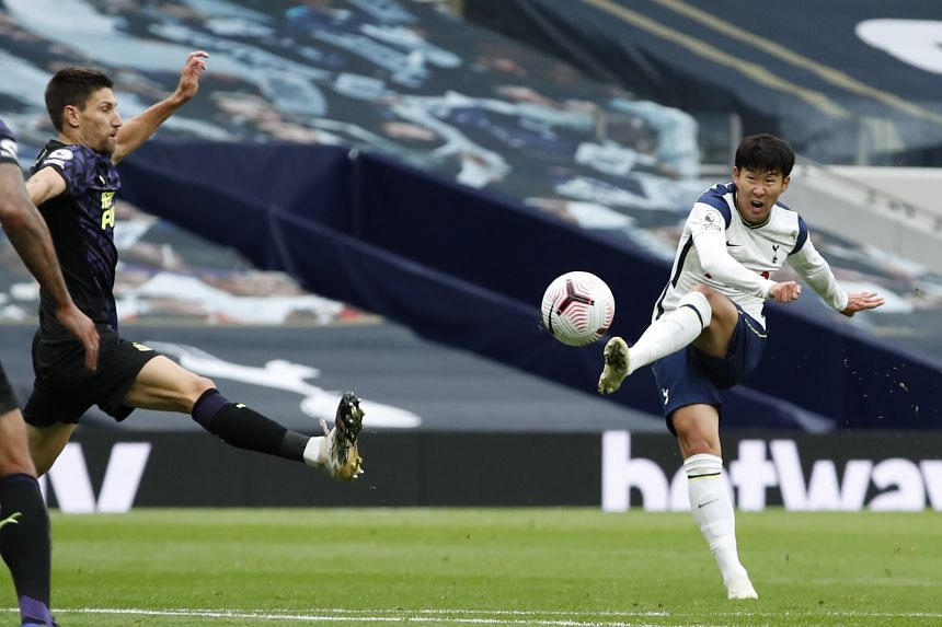 Son Heung-min of Tottenham Hotspur in action during an English Premier League soccer match against Newcastle United.