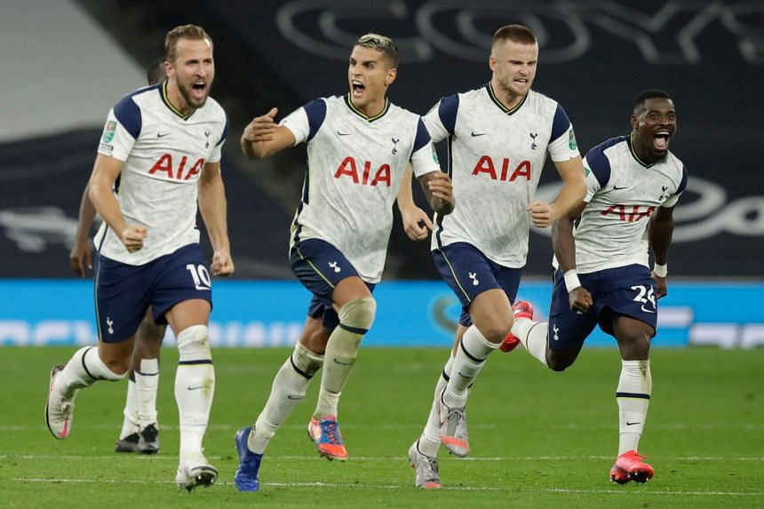 Tottenham's (from left) ) Harry Kane, Erik Lamela, Eric Dier and Serge Aurier celebrate the team's victory after penalties.
