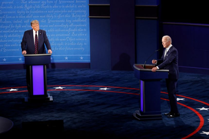 US President Donald Trump and Democratic presidential nominee Joe Biden participate in their first 2020 presidential campaign debate, on Sept 29, 2020.