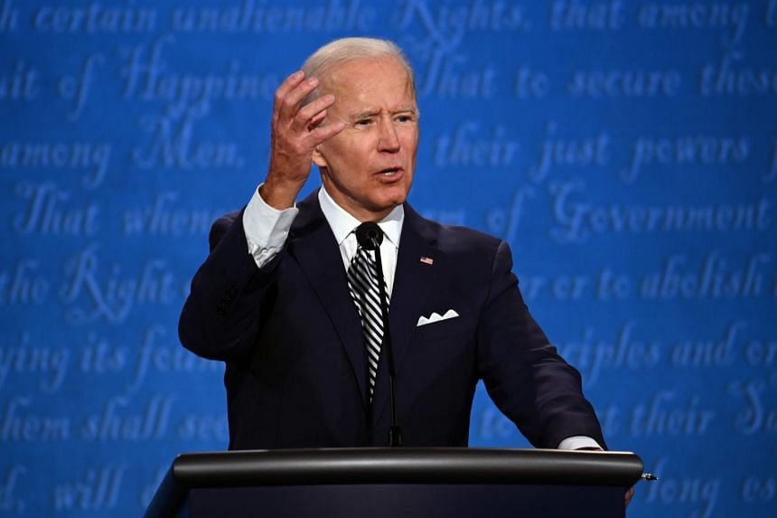 Democratic Presidential candidate and former US Vice-President Joe Biden gestures during the first presidential debate.