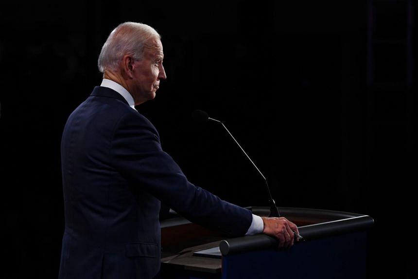 Democratic presidential candidate Joe Biden listens at the presidential debate.