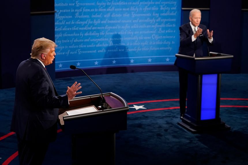 President Trump (left) repeatedly interrupted or sought to talk over Democratic candidate Joe Biden during the debate.