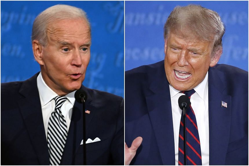 US President Trump (right) repeatedly interrupted or sought to talk over Democratic candidate Joe Biden during the debate.