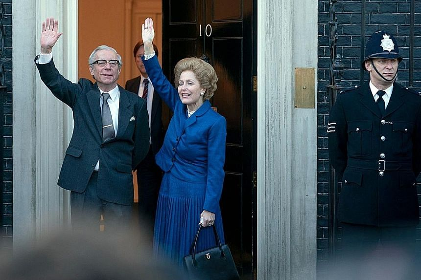 Gillian Anderson (right, with Stephen Boxer), plays former British prime minister Margaret Thatcher, while Emma Corrin (above) plays Diana, Princess of Wales.