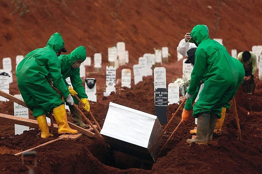 Workers burying the body of a Covid-19 victim yesterday at Pondok Ranggon Cemetery in East Jakarta. Capacity at the cemetery was expected to be at a critical state this month. Since March, 6,248 bodies have been buried in accordance with Covid-19 pro