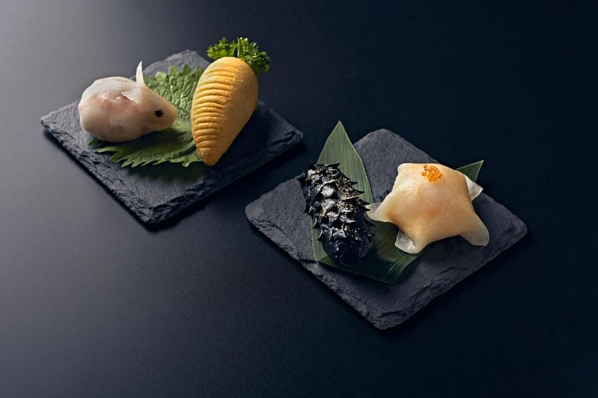 The Min Jiang Land and Sea Quartet includes rabbit-shaped steamed prawn and carrot dumpling.