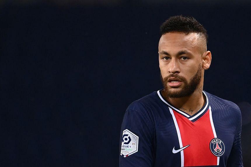 Paris Saint-Germain's Brazilian forward Neymar looking on during a match.