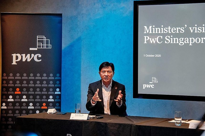 PwC Singapore executive chairman Yeoh Oon Jin speaking to the media yesterday. He said more skilled workers are needed to meet a growing demand for digital-related business transformation support services.