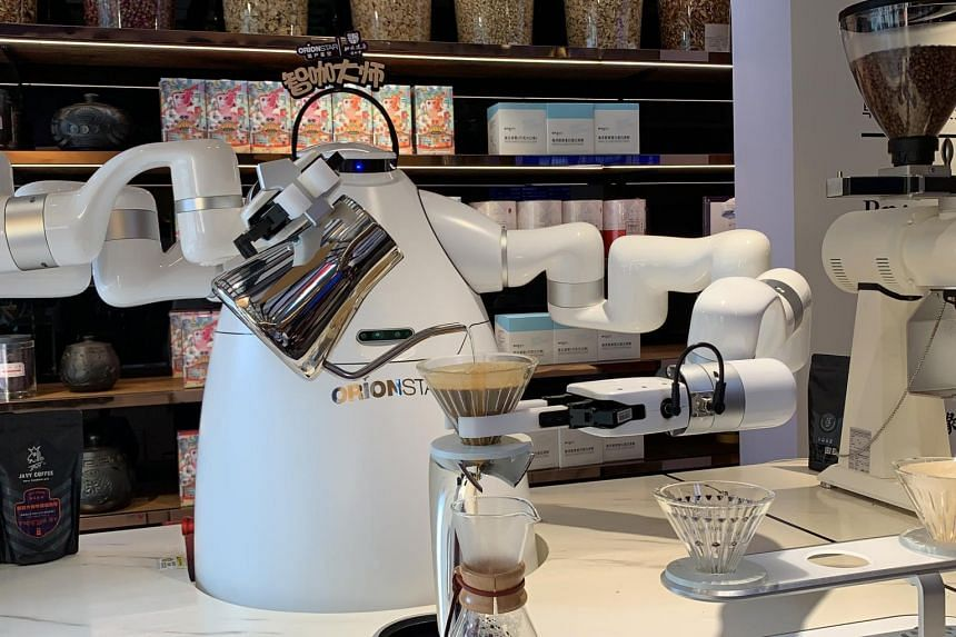 OrionStar's latest robot barista can make a cup of pour-over coffee in three minutes.