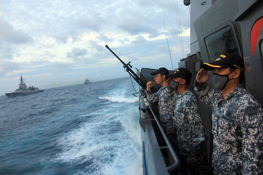 RSS Valour crew saluting their Royal Australian Navy counterparts to conclude Exercise Singaroo 2020. Colonel Ho Jee Kien (above) was deputy commander of the exercise task group. PHOTOS: REPUBLIC OF SINGAPORE NAVY