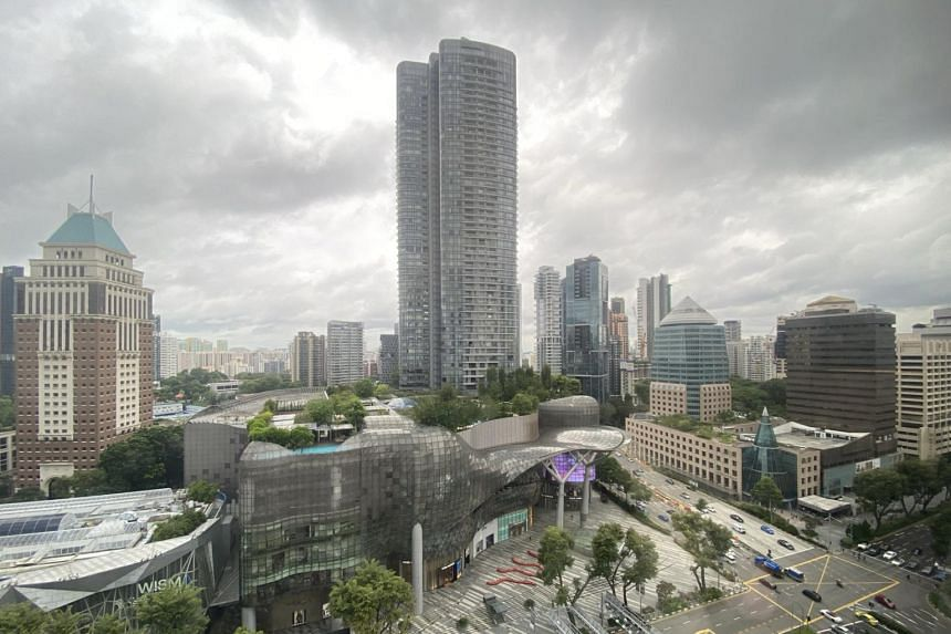 The view from one of the rooms at Singapore Marriott Tang Plaza Hotel.