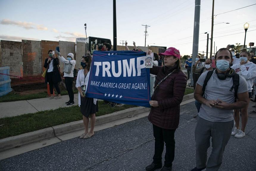 Supporters of US President Donald Trump outside the Walter Reed National Military Medical Center on Oct 2, 2020.