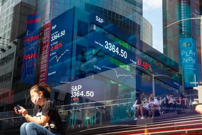 Monitors display S&P 500 market information at Morgan Stanley's headquarters in New York on, Oct 2, 2020.