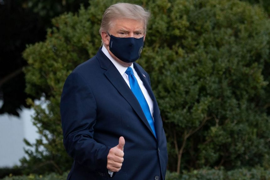 US President Donald Trump walks to Marine One prior to departure from the South Lawn of the White House, Oct 2, 2020,