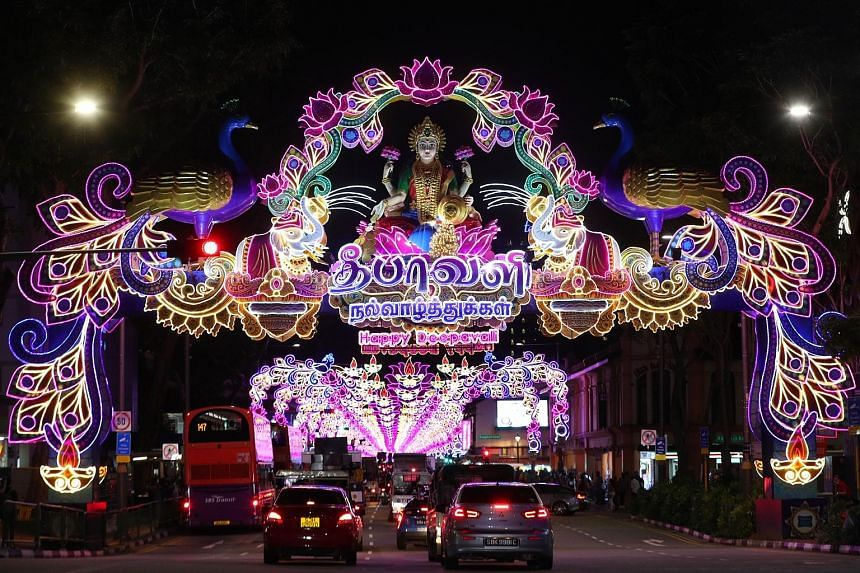 Goddess Mahalakshmi, the theme for this year's Deepavali light-up, is featured on the main arch (left) in Serangoon Road sitting on a lotus flower, with two elephants anointing her with water.