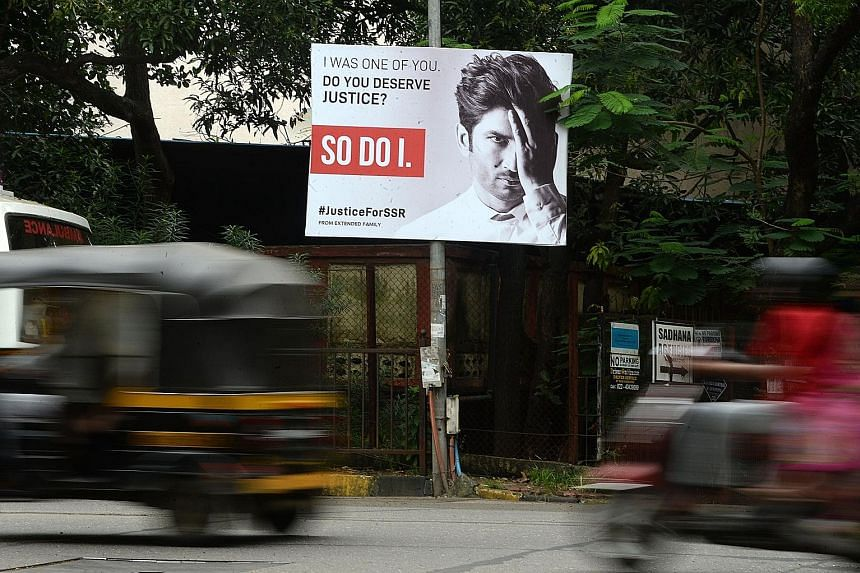 A hoarding (above) in Mumbai last week seeking justice for actor Sushant Singh Rajput. Mr Rajput's actress girlfriend Rhea Chakraborty (far left) is among the 20 people arrested in the drug probe launched after his June 14 death. The narcotics agency
