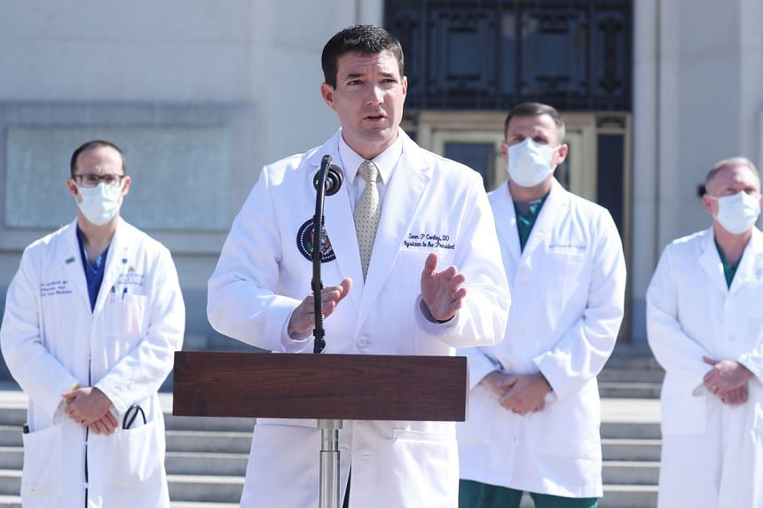 White House physician Sean Conley speaks at the Walter Reed National Military Medical Centre in Maryland on Oct 4, 2020.