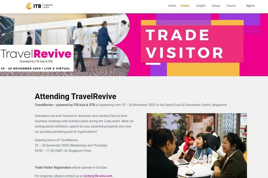 The TravelRevive trade show runs from Nov 25 to 26 and will be held at Marina Bay Sands Expo and Convention Centre.