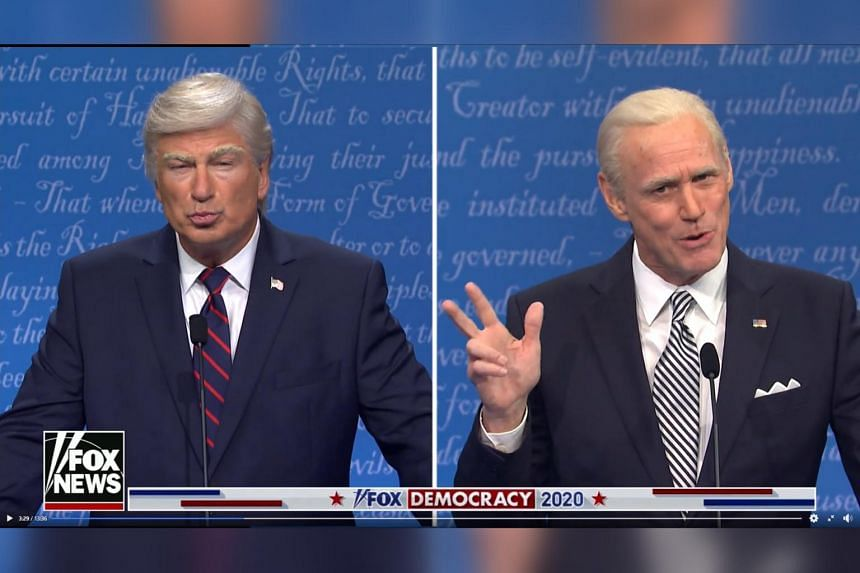 Saturday Night Live returns with Jim Carrey playing Joe Biden and Alec Baldwin (left) reprising his role as Donald Trump in a presidential debate parody.