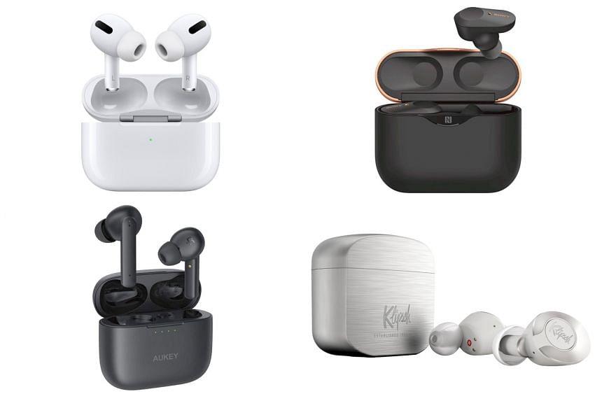 (Clockwise from top left) Apple AirPods Pro, Sony WF-1000XM3, Klipsch T5 II True Wireless, Aukey True EP-N5.