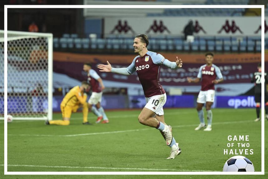 Jack Grealish of Aston Villa celebrates after scoring a goal against last season's champion, Liverpool, in an unexpected 7-2 win during the English Premier League match in Birmingham, Britain, 04 October 2020.