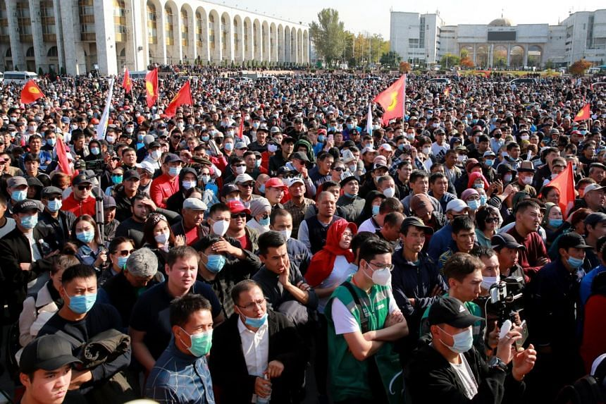 Protesters in Kyrgyzstan seized the building housing the country's Parliament and presidential administration.
