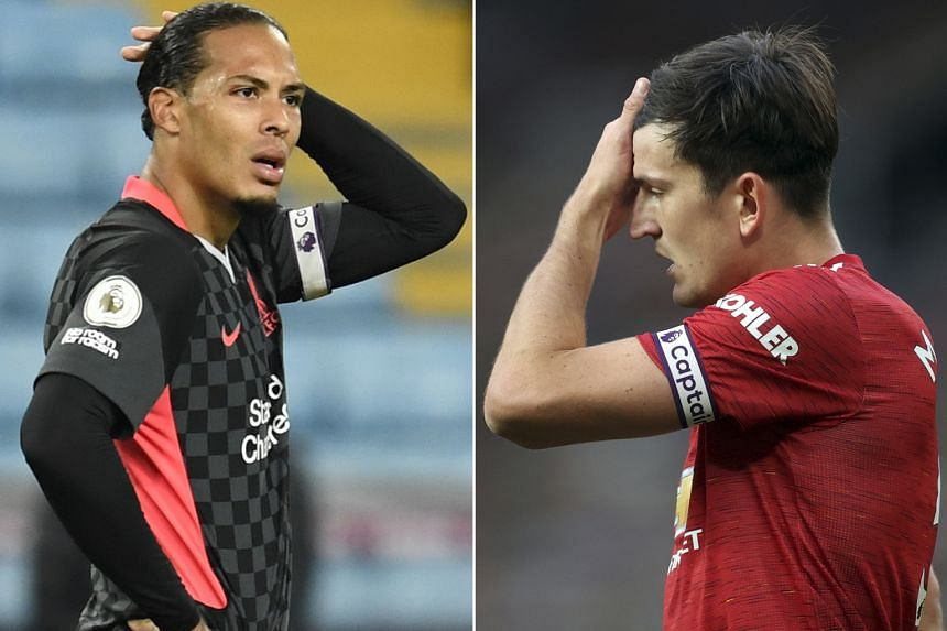 Stand-in captain Virgil van Dijk looks lost as the Reds suffered their heaviest defeat in 57 years on Sunday, while Manchester United skipper Harry Maguire endured a nightmare outing against Spurs.