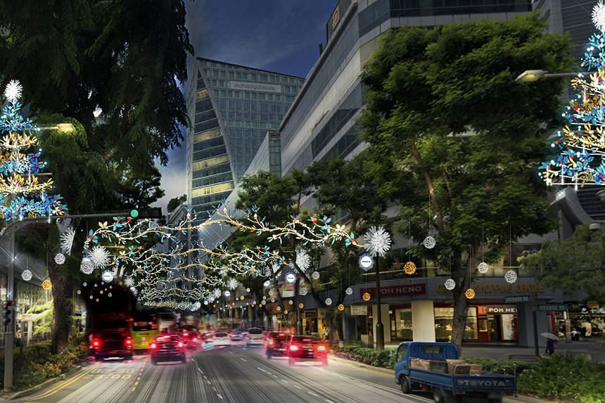 An artist's impression of the Christmas lights to be put up at the junction of Orchard Road and Cairnhill Road. Organisers are promising a dazzling spectacle when the light-up in the shopping belt kicks off on Nov 13. For the first time, viewers at h