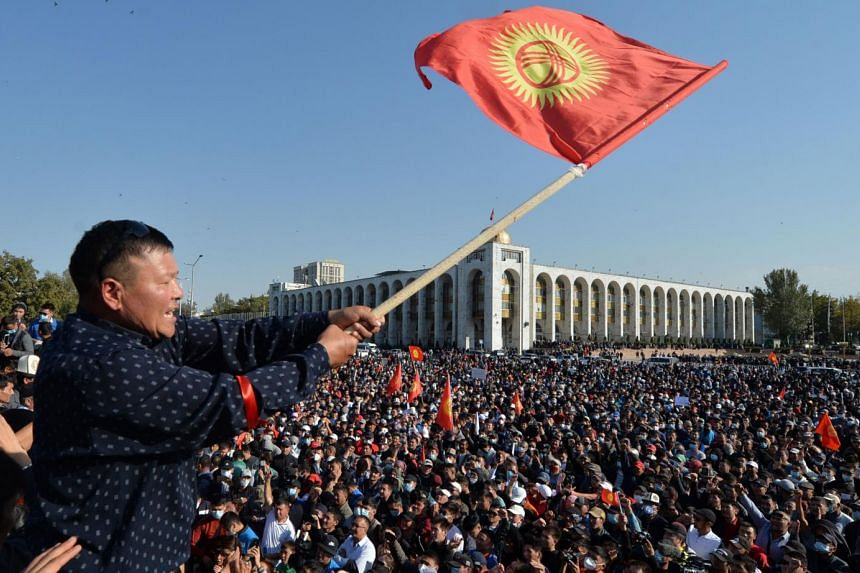 Protests broke out on Monday in Kyrgyzstan's capital of Bishkek.